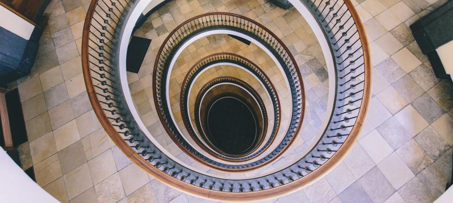 The spiral staircase of Axelborg in Copenhagen